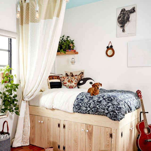 Guest bedroom with under-the-bed storage