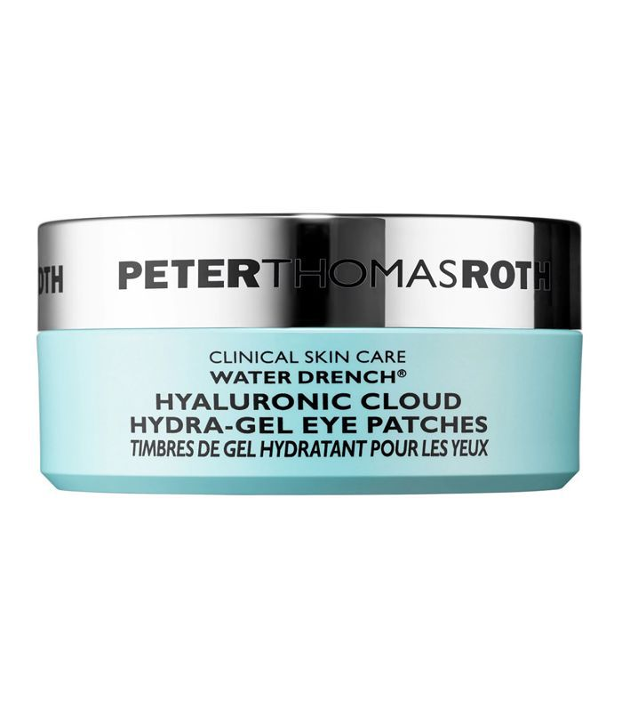 A blue container of Peter Thomas Roth's Water Drench Hyaluronic Cloud Hydra-Gel Eye Patches.