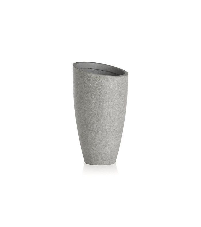 Crate and Barrel Slant Light Grey Tall Planter