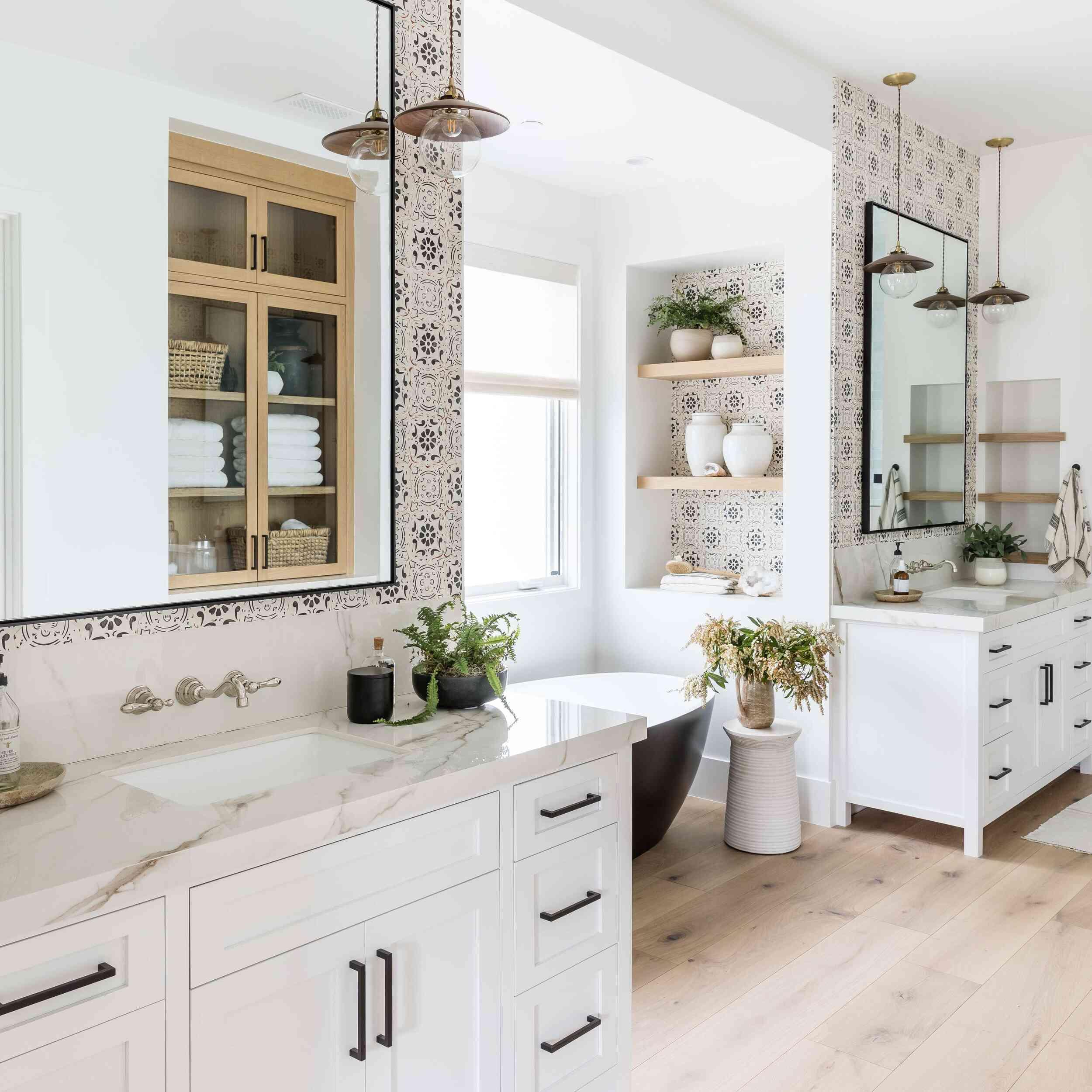 bathroom with tile-look wallpaper