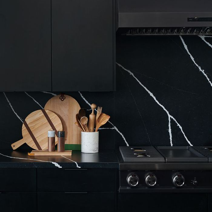 Black marble backsplash