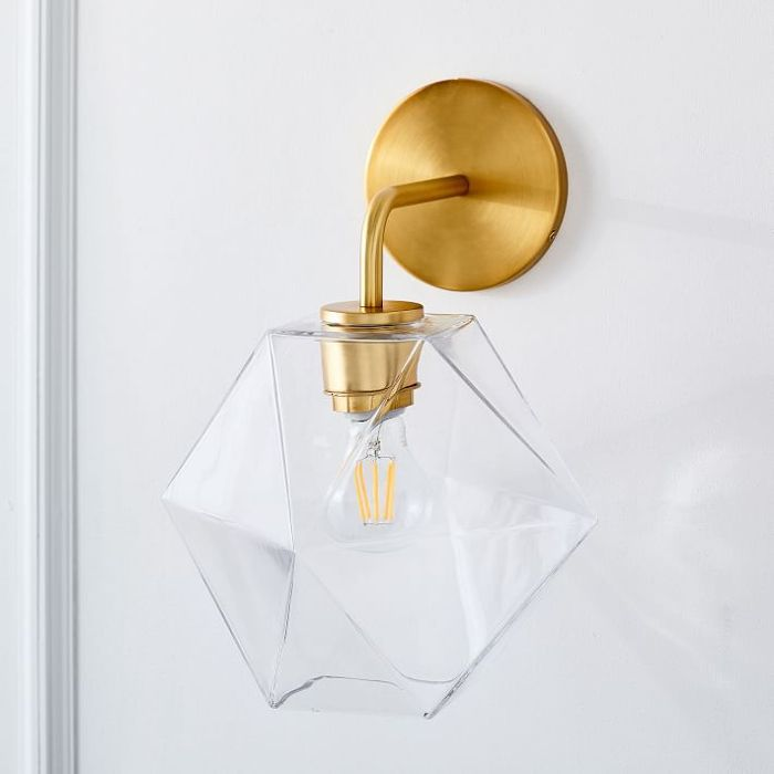 West Elm Scultpural Glass Faeted Sconce - Small