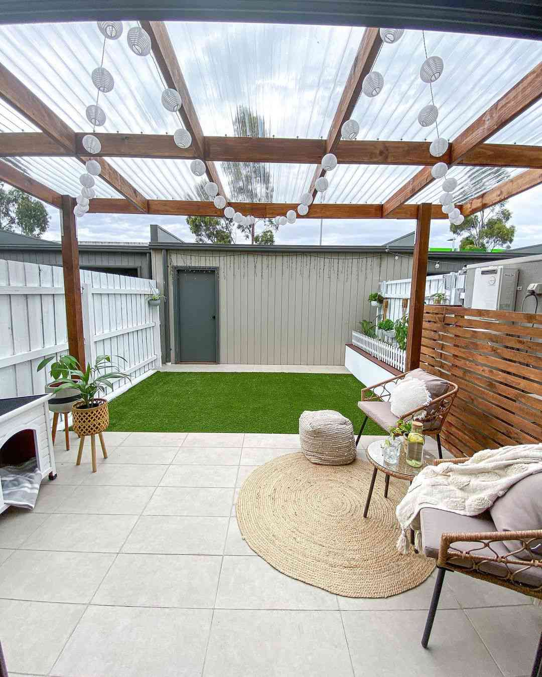 Patio with plastic roof cover