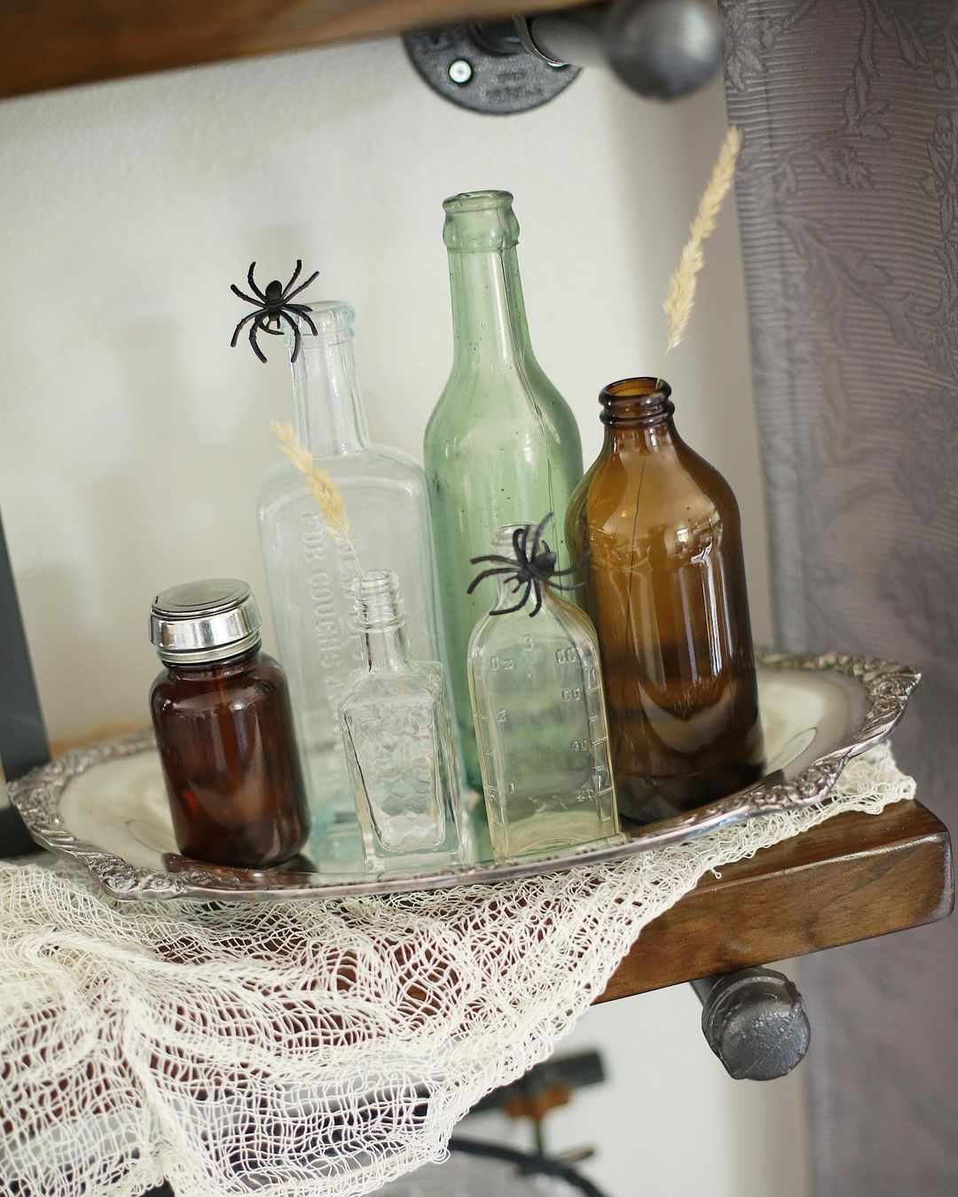 Bottle with spider