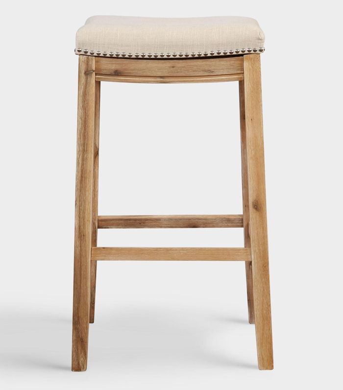 Natural Linen Mia Upholstered Barstool by World Market