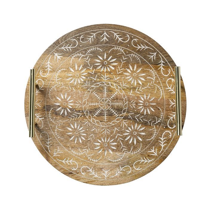 Target Round Mango Wood Embellished Serving Tray With Handles