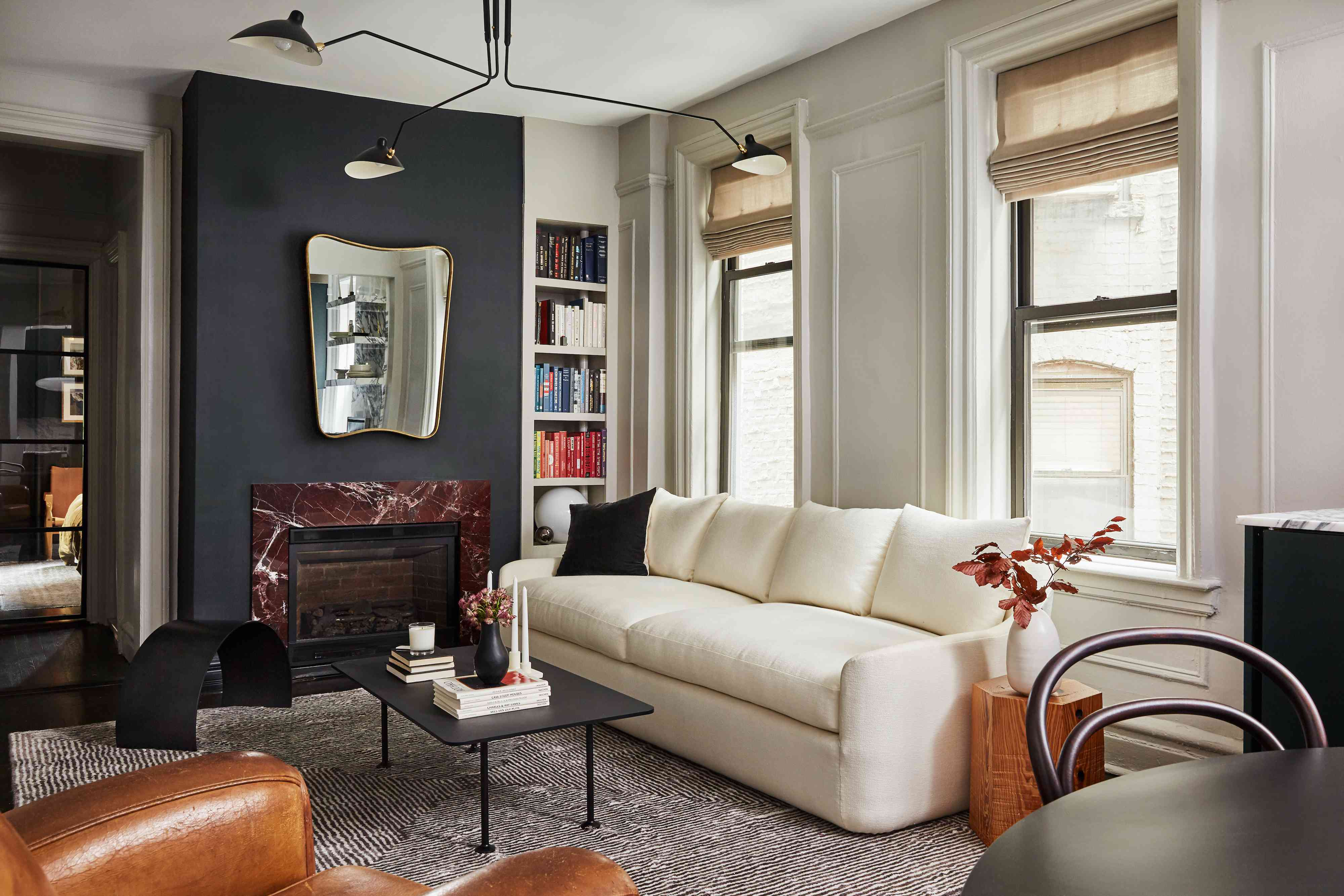 small space white couch living room