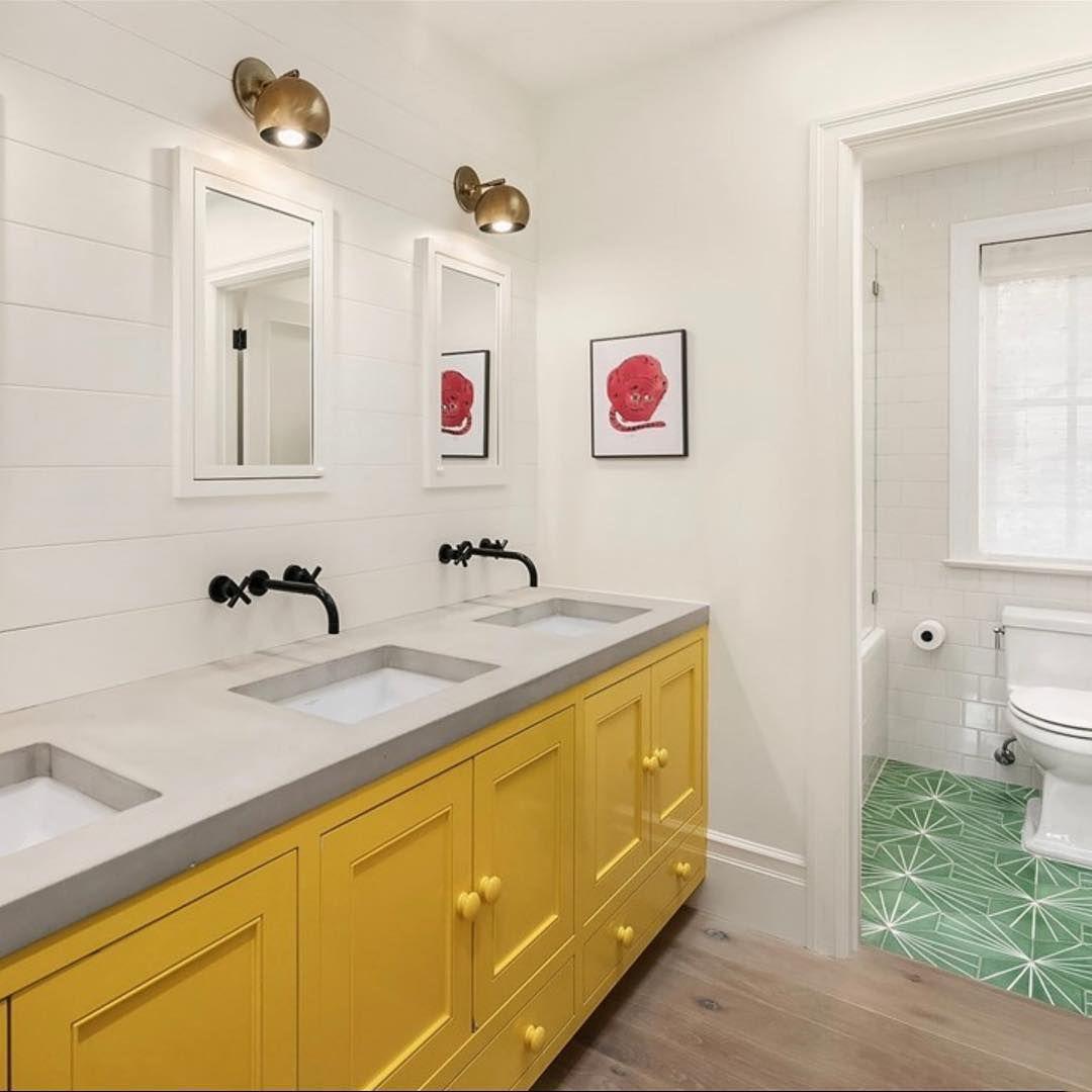 Yellow and green bathroom