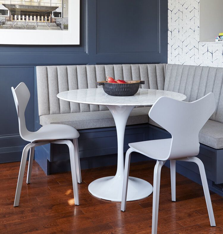 Blue and gray breakfast nook
