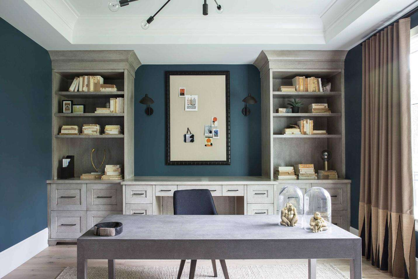 Office with a coffered ceiling