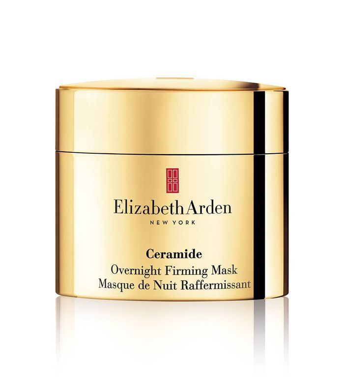 A small gold container of Elizabeth Arden Ceramide Overnight Firming Mask.