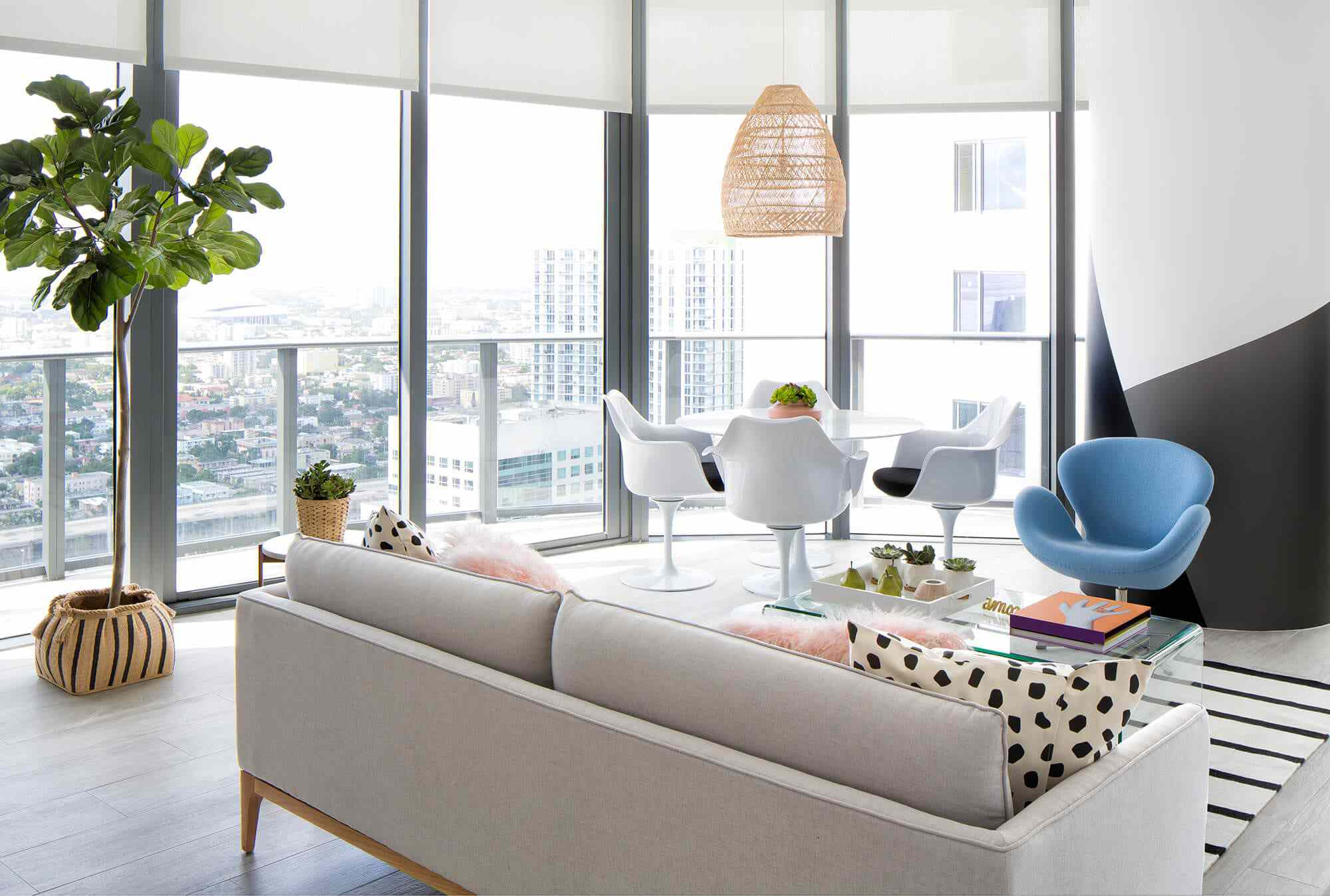Open living space in high-rise apartment