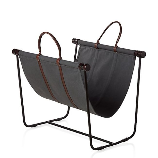 Crate and Barrel Canvas and Leather Log Carrier with Stand
