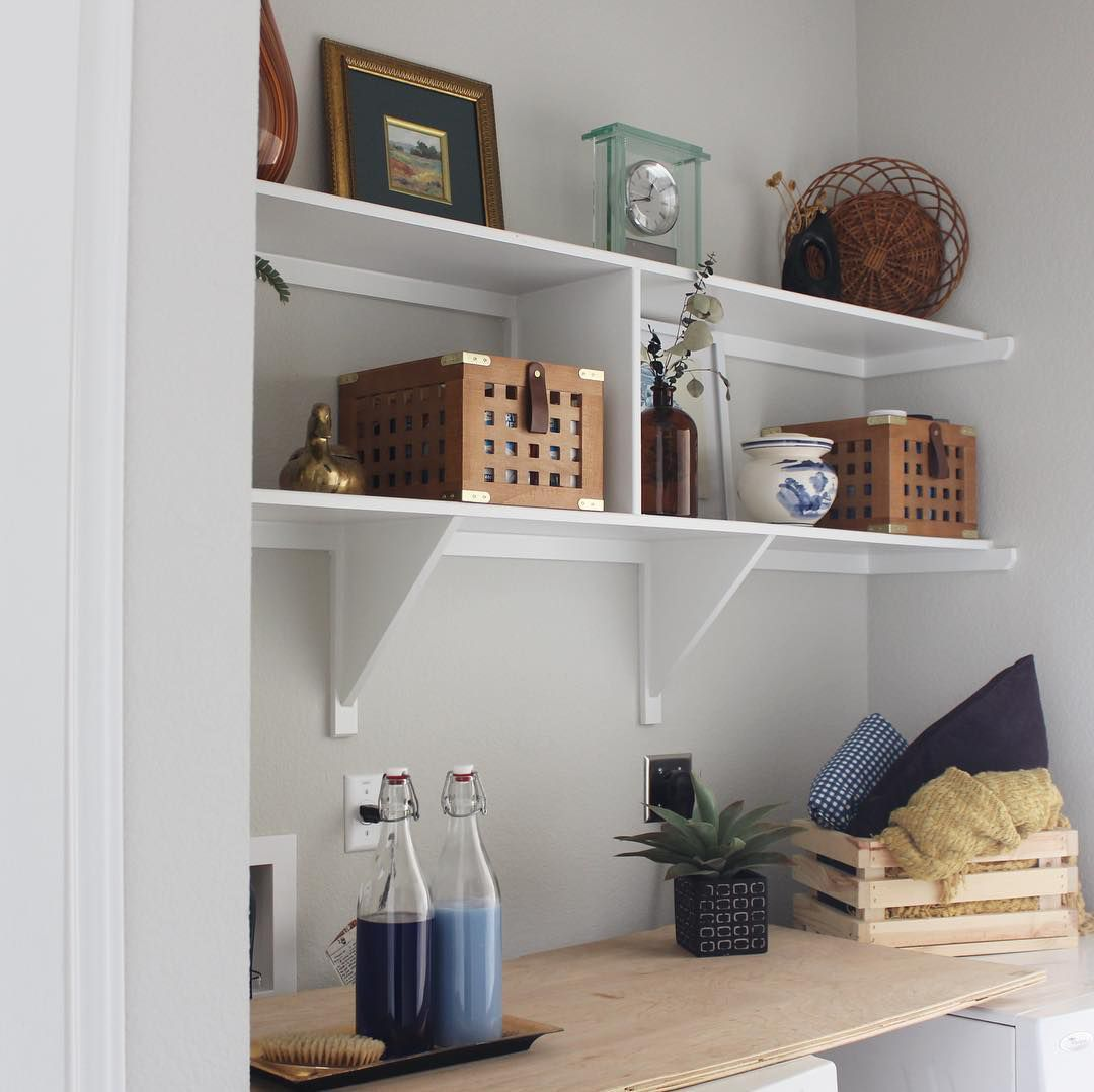 Laundry room storage with objects