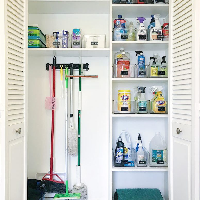 hall closet with cleaning supplies