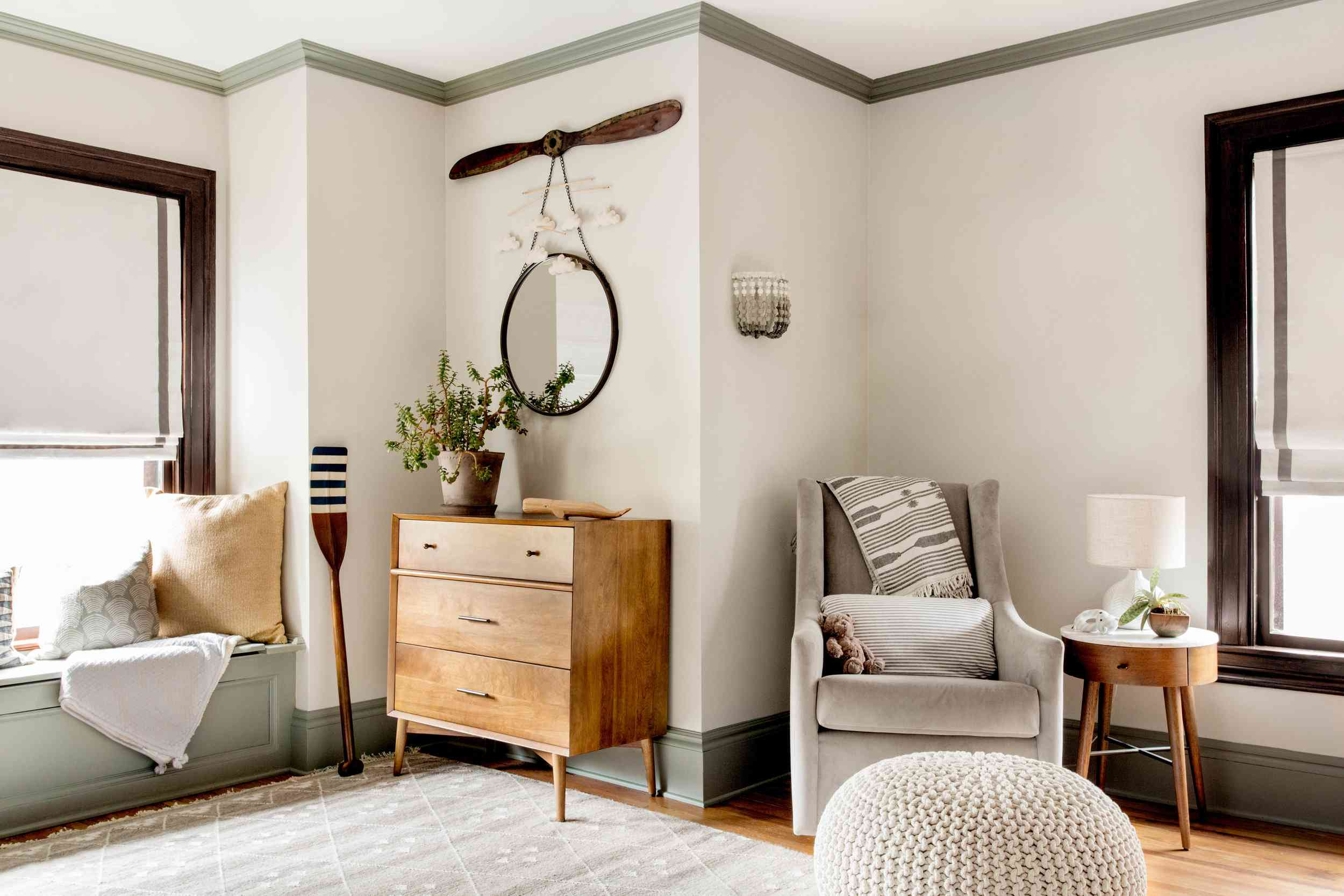 how to decorate with sage - painted sage trim