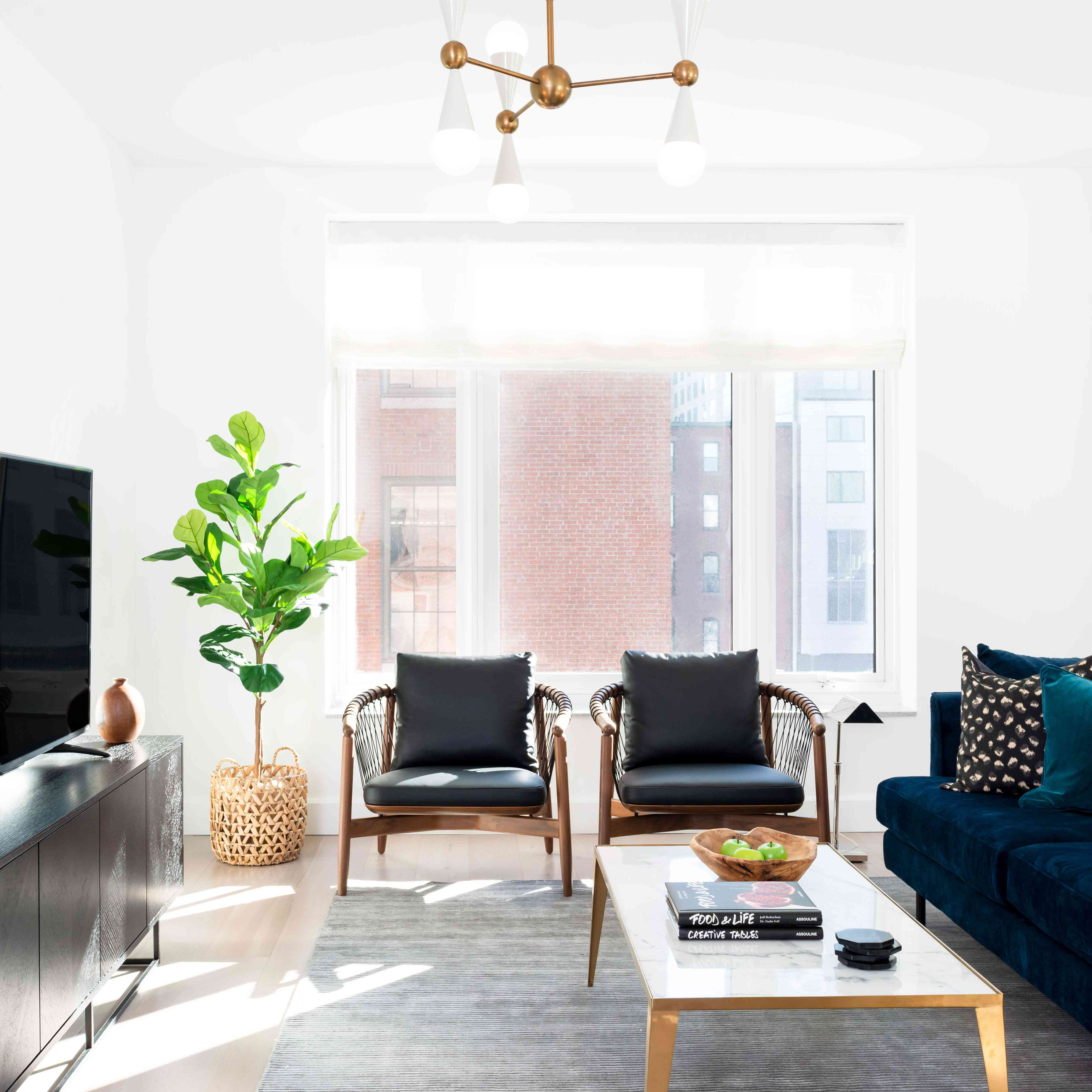 best living room ideas- living room design with dark couches