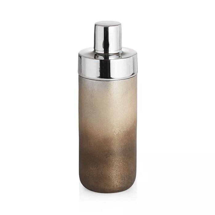 A chrome cocktail shaker with an ombre body.