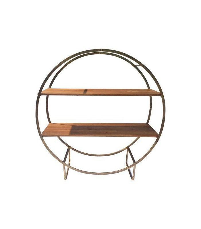 Chairish Two Tiered Bronze-Tone Circular Shelf
