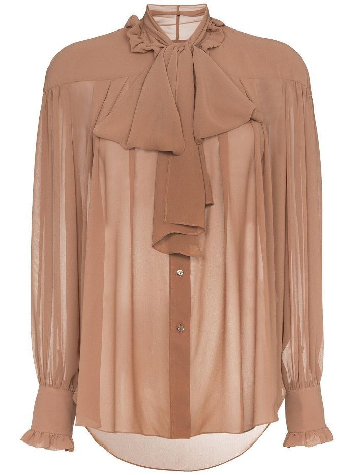 tie neck long sleeve blouse