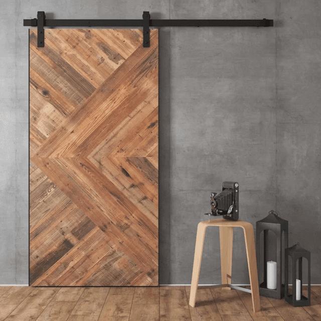 Reclaimed Wood Malibu Barn Door with Installation Hardware Kit