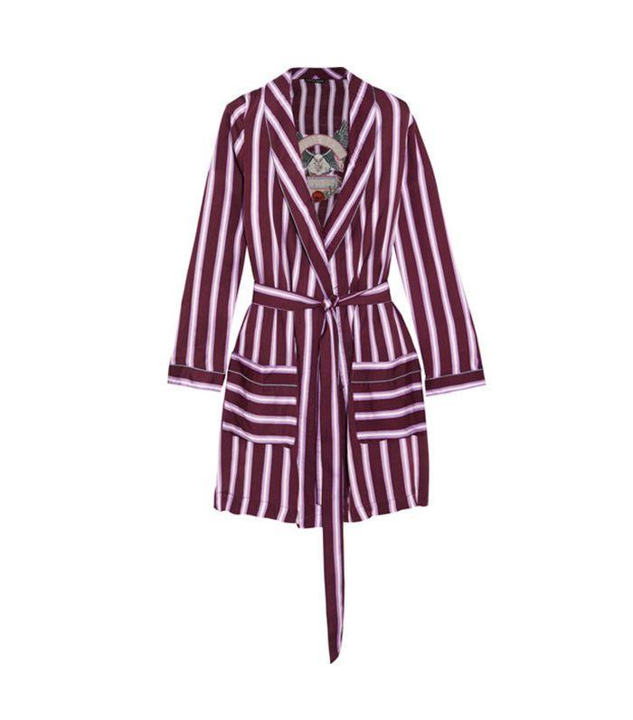 Ritz Appliquéd Striped Satin Robe