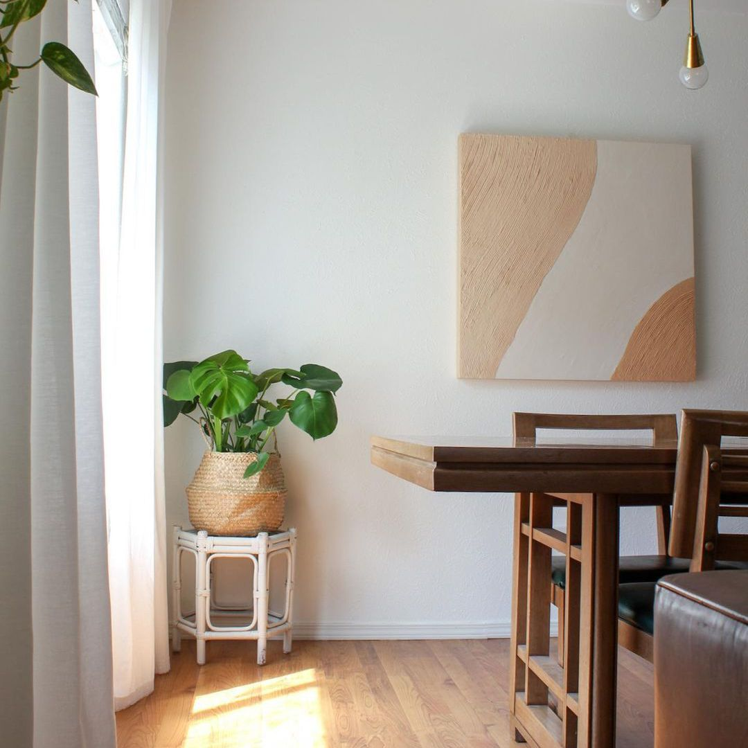Dining room with a plant