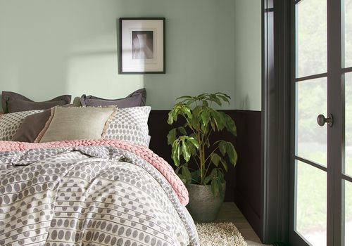 bedroom with sage green wall