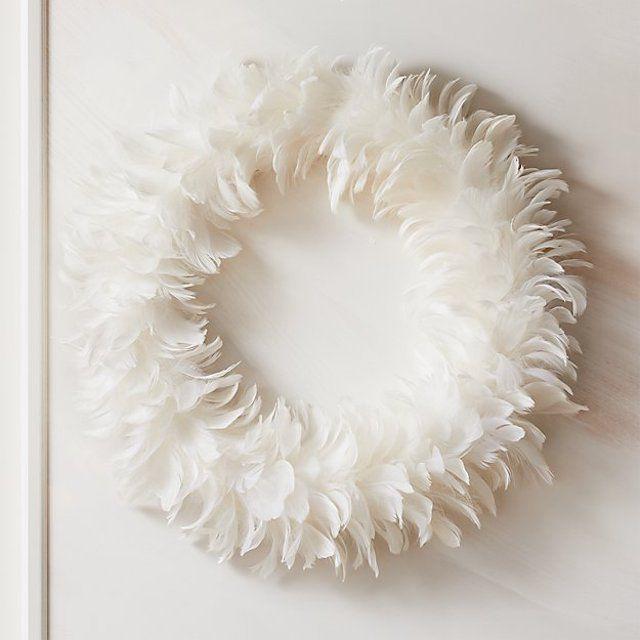 feather white wreath