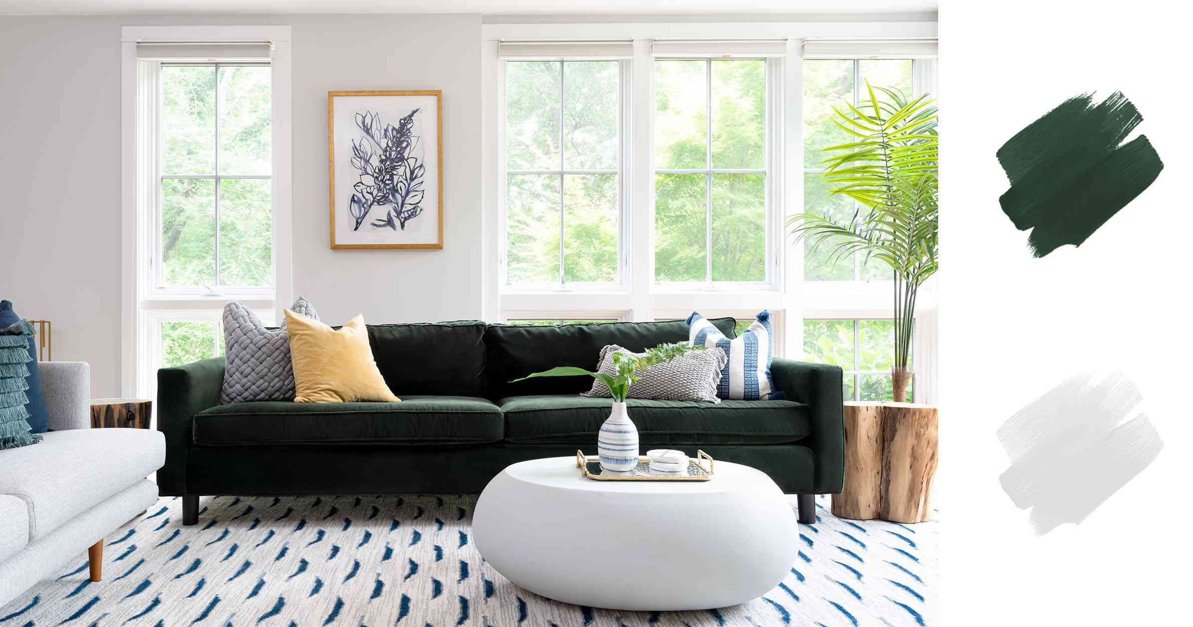 best interior color schemes - hunter green and light gray