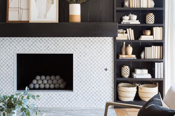 Fireplace with black shiplap