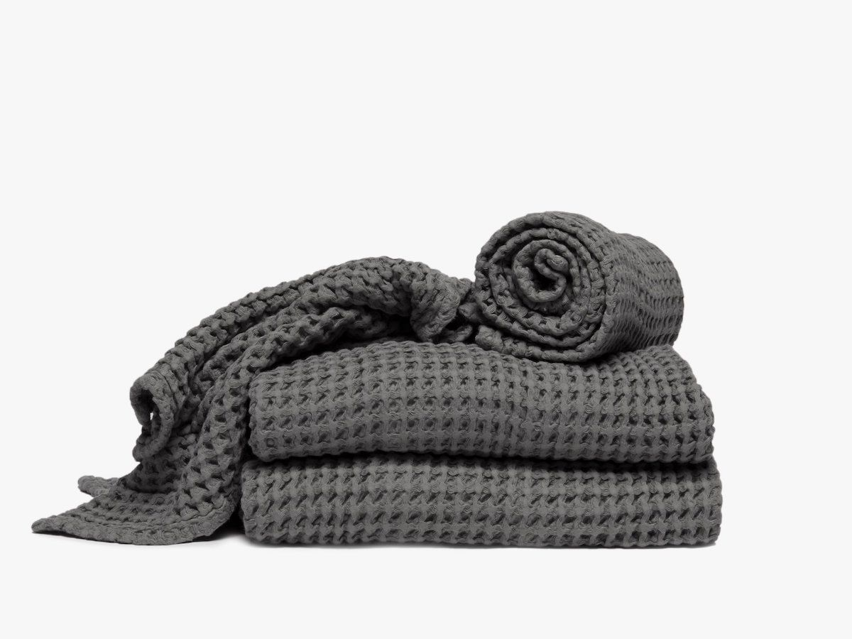 A slate gray waffle towels, currently for sale at Parachute