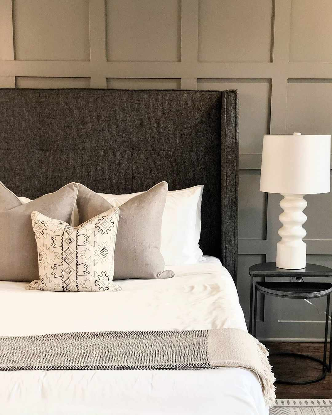 Bedroom with gray textiles