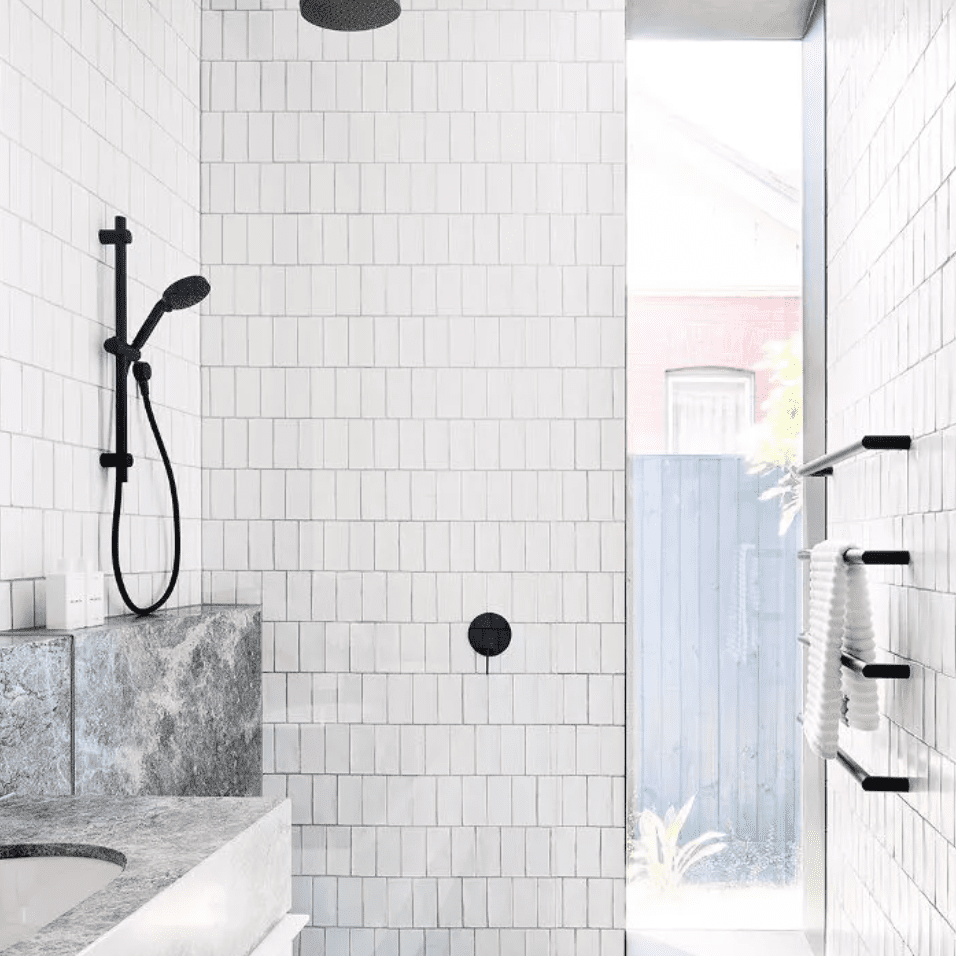 Vertically-stacked tile bathroom