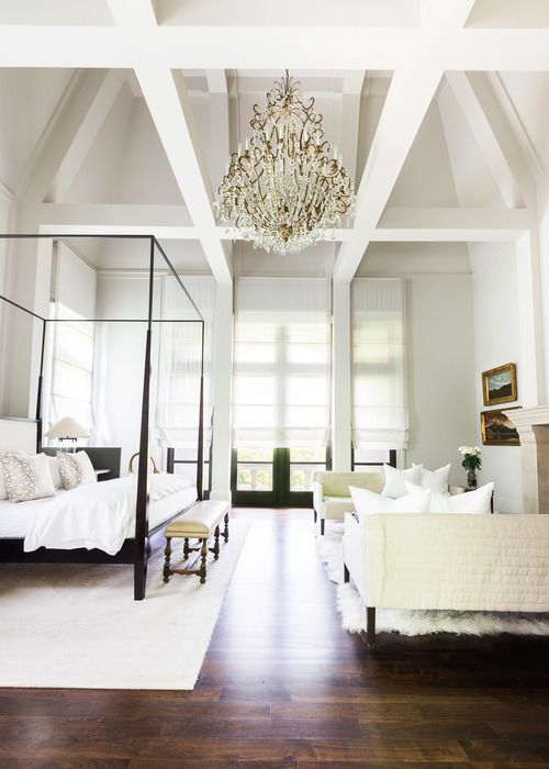 a zen bedroom with a calming white color palette