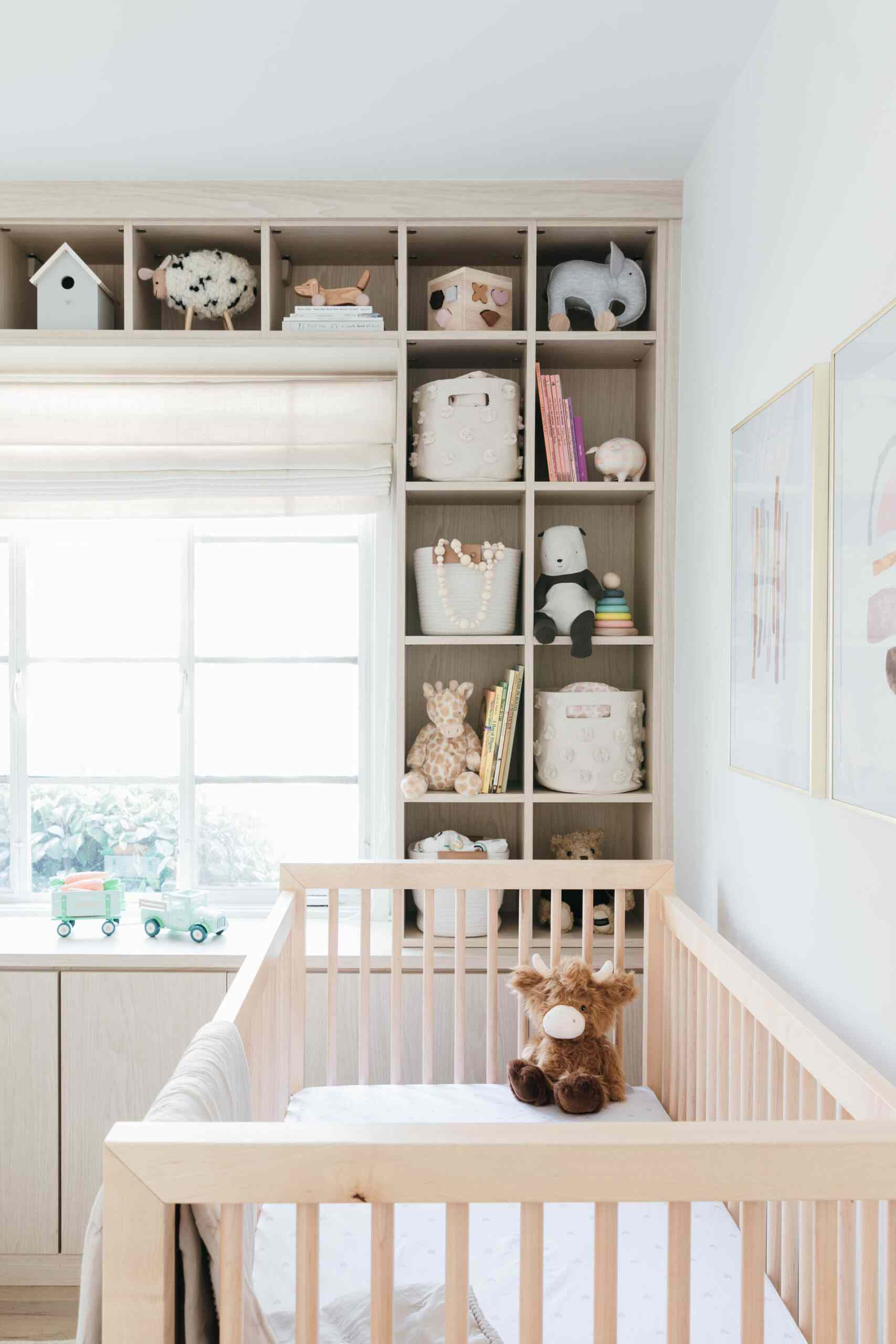 nursery with built-in cubbies