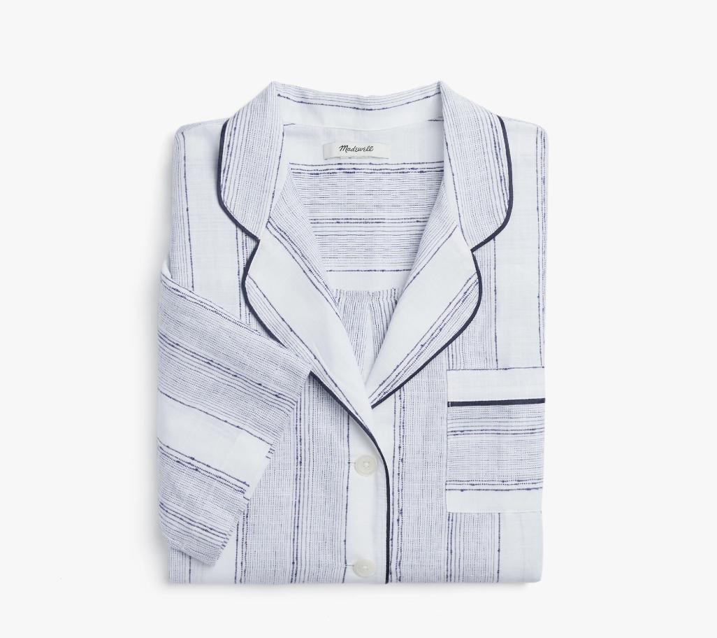 Madewell x Parachute Striped Oversized Pajama Shirt