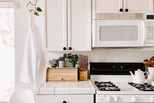 how to decorate above kitchen cabinets - kitchen with plant styled on top of cabinetry