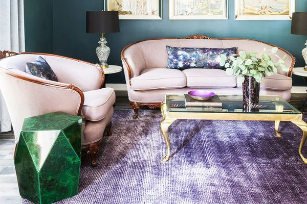 a living room with jewel tones