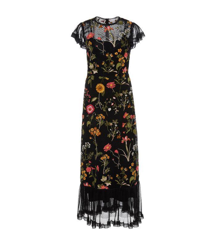 Macrame Floral Short Sleeve Midi Dress