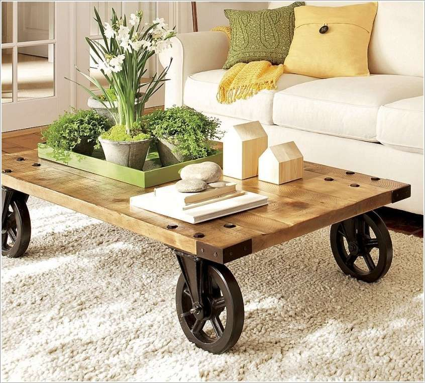 Rustic chic coffee table with wheels