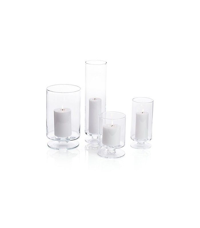 Crate & Barrel London Glass Hurricane Candle Holders
