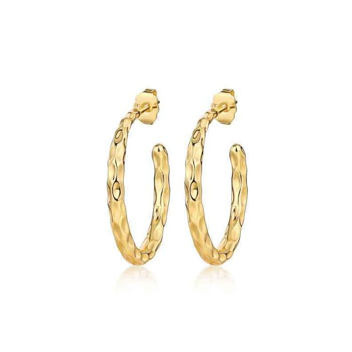 F+H Jewelry Dazed Hammered Hoops
