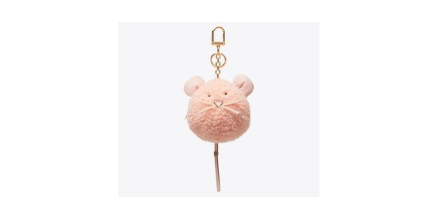 mouse pom-pom key ring tory burch