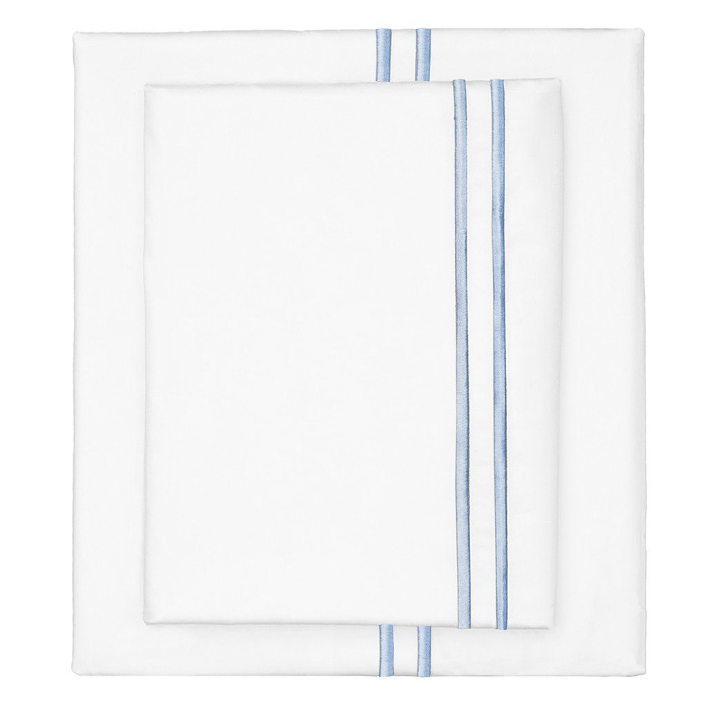 Crane & Canopy French Blue Lines Embroidered Sheet Set