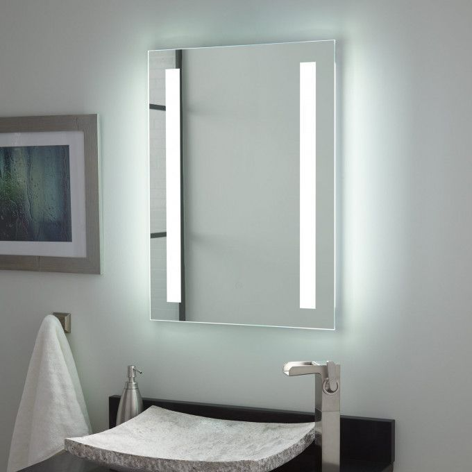 Curie lighted bathroom mirror
