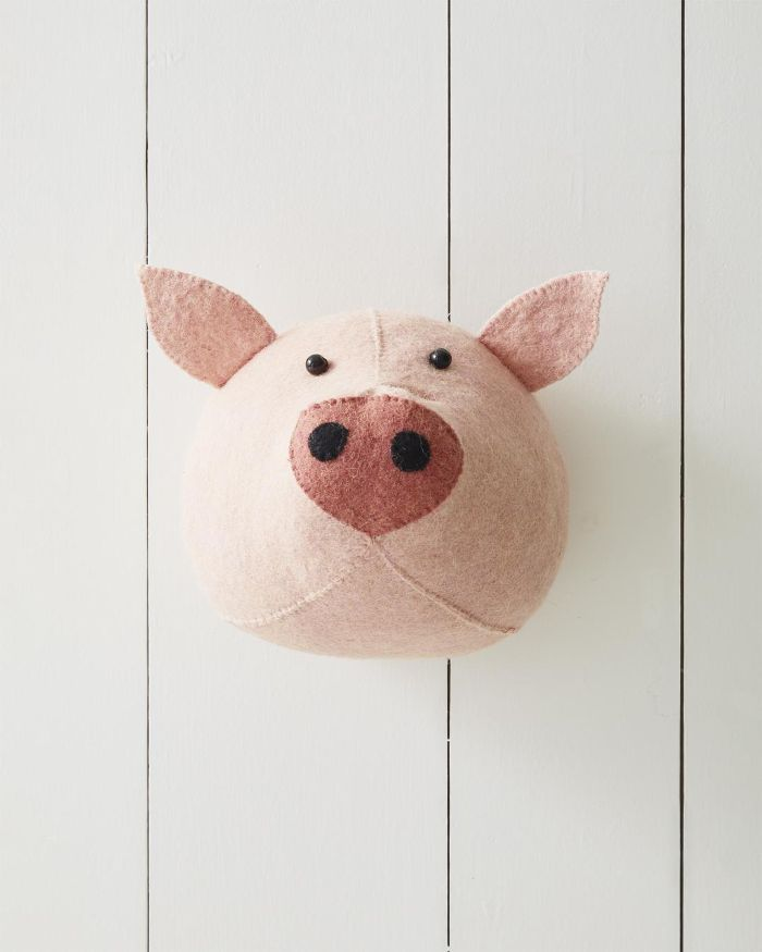 Felted Wool Wall Animal – Pig