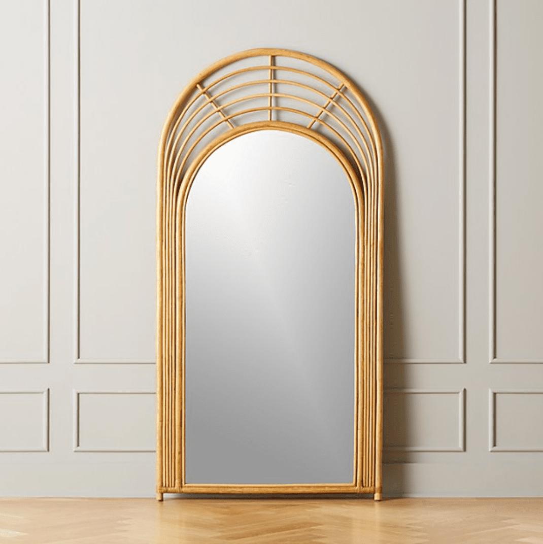 Natural Rattan Floor Mirror