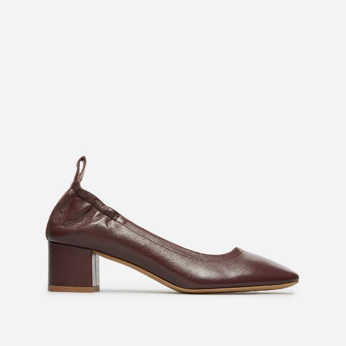 Women's Leather Block Heel Pump by Everlane in Oxblood, Size 10