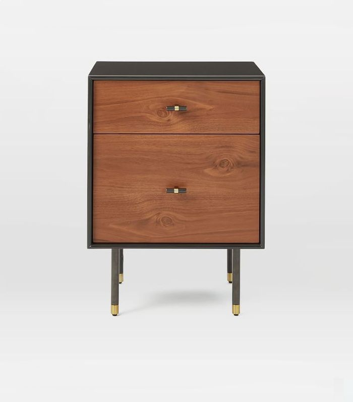 Modernist Wood + Lacquer Storage Nightstand